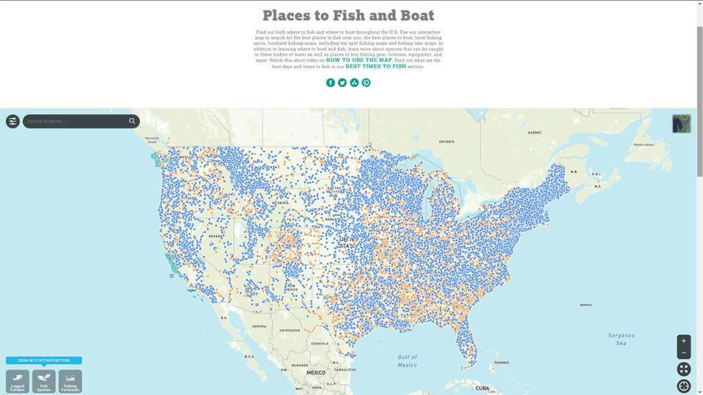 TakeMeFishing.org's map of locations relevant to fishing.